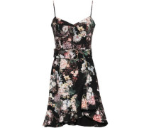 Belted Floral-print Stretch-cotton Twill Mini Dress Black