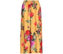 Elba floral-print jacquard culottes