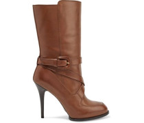 Buckled Leather Boots Brown