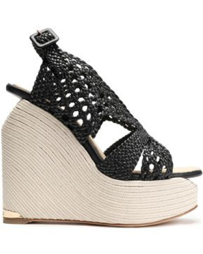 Woven leather espadrille wedge sandals