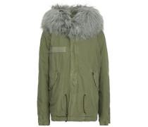 Shearling-trimmed Cotton-blend Gabardine Hooded Coat Dark Gray
