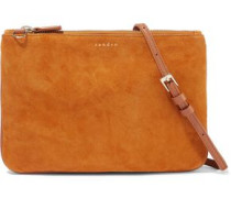 Addict Leather-trimmed Suede Pouch Tan Size --