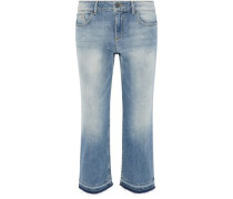 Tasha cropped faded mid-rise straight-leg jeans
