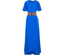 Belted cutout silk maxi dress