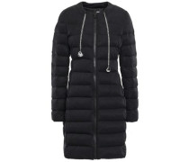 Chain-embellished Quilted Shell Down Coat Black