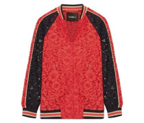 Cotton-blend corded lace bomber jacket