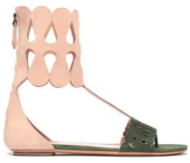 Color-block Laser-cut Suede Sandals Blush