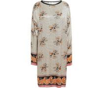 Printed Satin-crepe Mini Dress Cream
