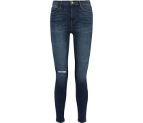 Le High Skinny Faded High-rise Skinny Jeans Mid Denim  4