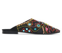 Embellished embroidered canvas slippers