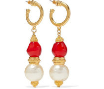 24-karat gold-plated, stone and faux pearl earrings