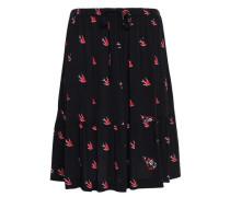 Ruffled Printed Crepe Skirt Black