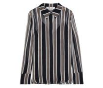 Woman Striped Silk-georgette Shirt Black