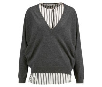 Layered striped silk-paneled cashmere sweater