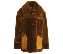 Suede-trimmed Shearling Coat Brown Size 00