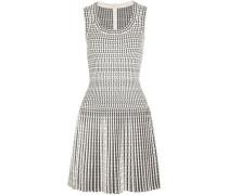Pleated Wool-blend Jacquard Mini Dress White