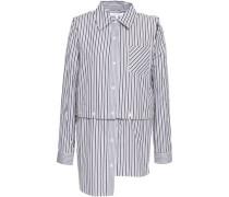 Convertible cutout striped cotton-poplin shirt