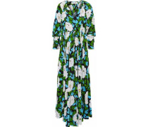 Pleated Floral-print Silk Maxi Dress Ivory