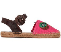 Paneled Leather-trimmed Embellished Raffia Espadrilles Bright Pink