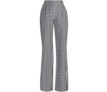 Gingham twill wide-leg pants