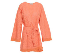 Pippa Frayed Broderie Anglaise Cotton Coverup Peach Size ONESIZE
