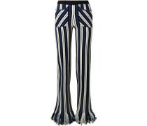 Striped Intarsia-knit Cashmere Straight-leg Pants Royal Blue