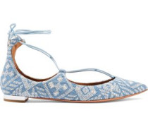 Christy embroidered denim point-toe flats