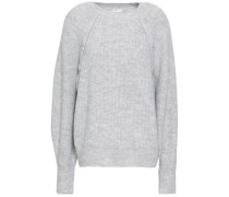 Button-detailed Mélange Knitted Sweater Stone
