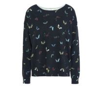Eloisa Printed Cotton And Cashmere-blend Sweater Black