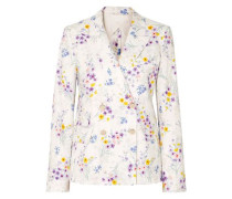 Libia Double-breasted Floral-print Linen Blazer White