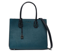 Woman Python-effect And Textured-leather Tote Petrol