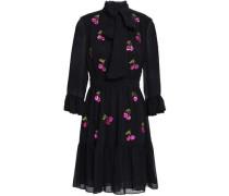 Pussy-bow Sequin-embellished Crinkled Georgette Mini Dress Black