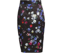 Floral-print twill skirt