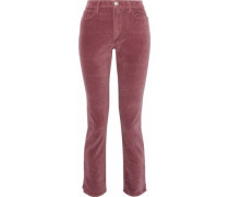 Higher Ground cropped velvet slim-leg pants