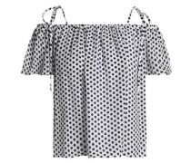 Eden cold-shoulder polka-dot silk crepe de chine top
