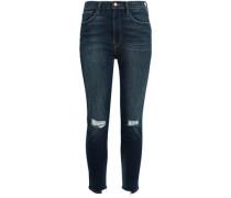 Ali High Rise Cigarette Cropped Distressed High-rise Skinny Jeans Dark Denim  6