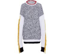 Oversized Fringed Felt-trimmed Intarsia Cotton-blend Sweater White