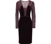 Embellished lace-paneled velvet dress