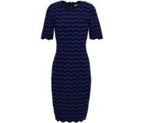 Ribbed Pointelle-knit Dress Navy