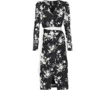 Floral-print Fil Coupé Georgette Midi Wrap Dress Black