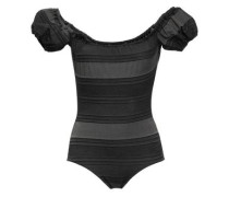 Striped Stretch-cotton Jersey Swimsuit Charcoal Size 1