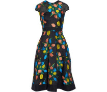 Grosgrain-trimmed embroidered cloqué dress