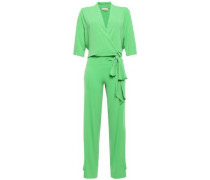 Wrap-effect Crepe Jumpsuit Green