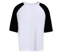 Velvet-paneled Cotton-jersey T-shirt Black Size 0
