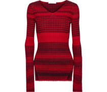 Striped Ribbed Wool And Cotton-blend Sweater Red