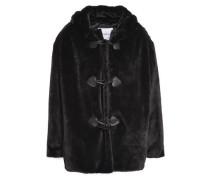 Faux Fur Hooded Coat Black