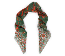 Woman Printed Cotton And Silk-blend Scarf Leaf Green