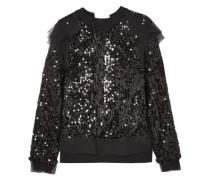 Open-back Sequined Jersey And Chiffon Sweatshirt Black Size 1