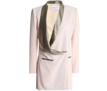 Silk satin-trimmed crepe blazer