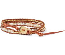 18-karat Gold-plated Sterling Silver, Leather, Swarovski Crystal And Mother-of-pearl Bracelet Brown Size --
